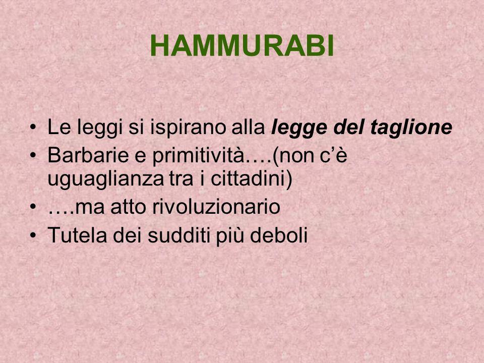 HAMMURABI Le leggi si ispirano alla legge del taglione