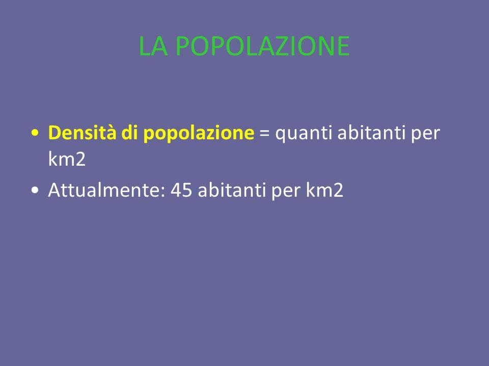 LA POPOLAZIONE Densità di popolazione = quanti abitanti per km2
