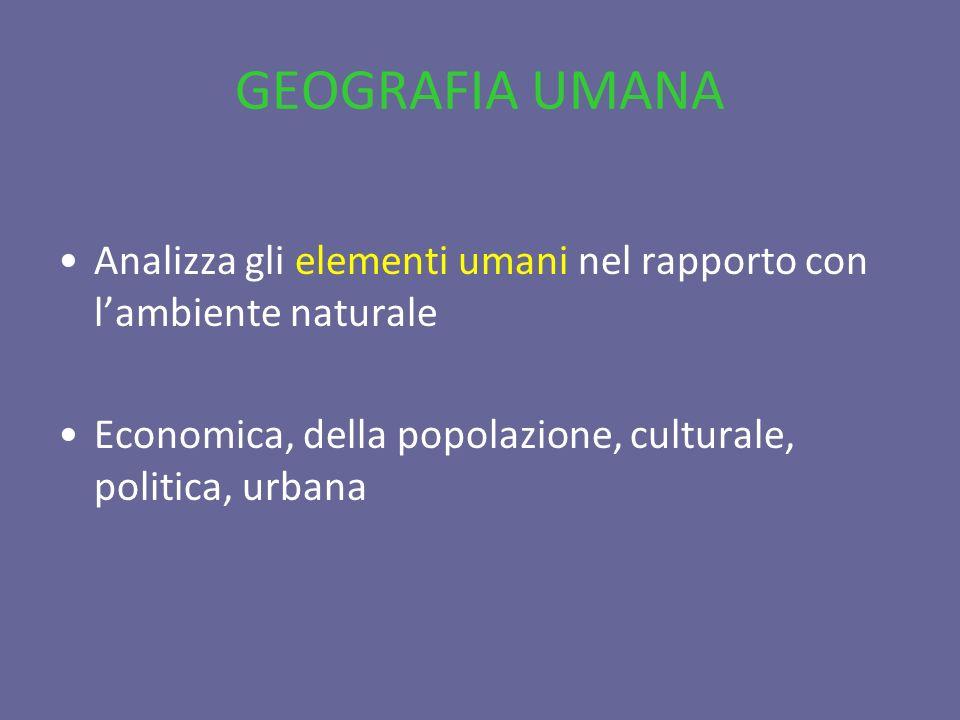 GEOGRAFIA UMANA Analizza gli elementi umani nel rapporto con l'ambiente naturale.