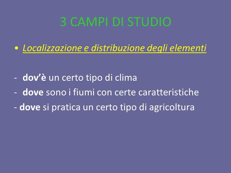 3 CAMPI DI STUDIO Localizzazione e distribuzione degli elementi