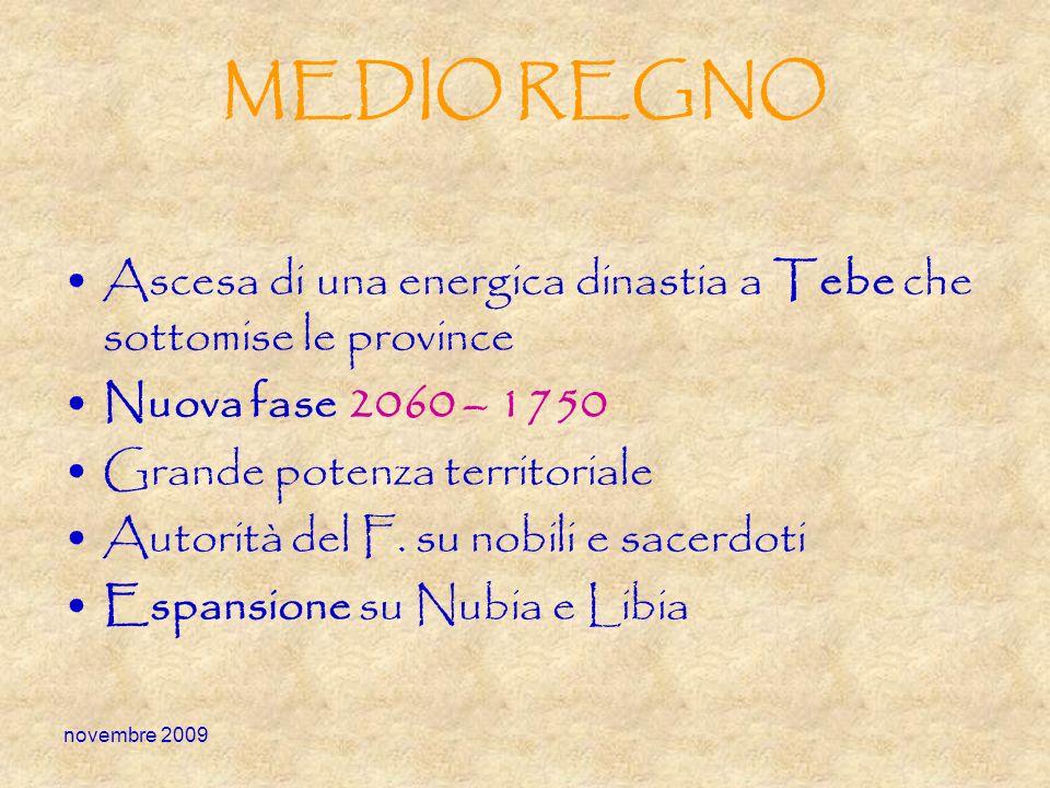 MEDIO REGNO Ascesa di una energica dinastia a Tebe che sottomise le province. Nuova fase 2060 – 1750.