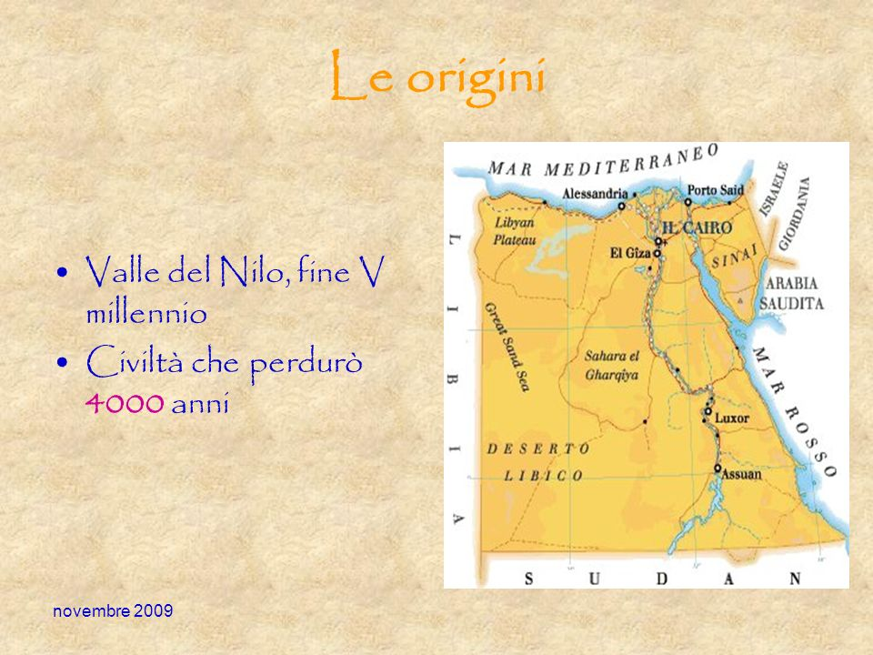 Le origini Valle del Nilo, fine V millennio