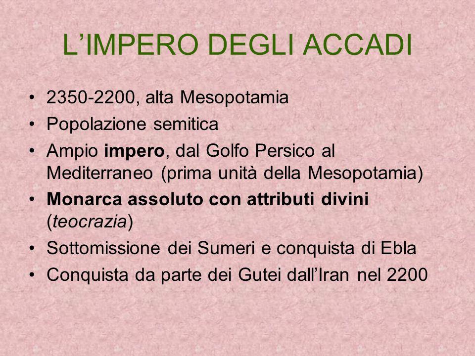 L'IMPERO DEGLI ACCADI 2350-2200, alta Mesopotamia Popolazione semitica