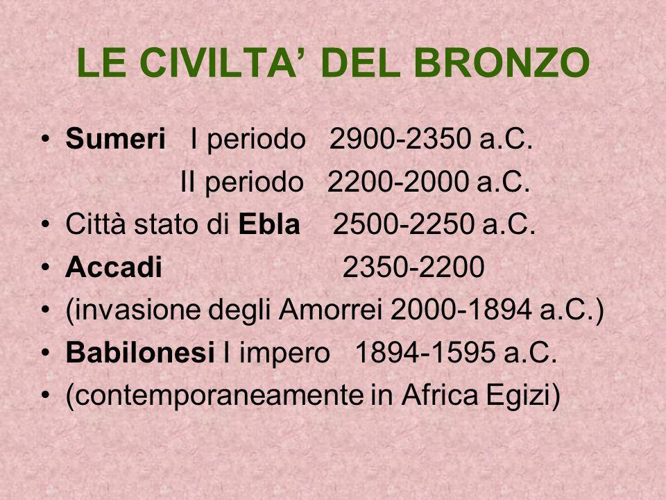 LE CIVILTA' DEL BRONZO Sumeri I periodo 2900-2350 a.C.
