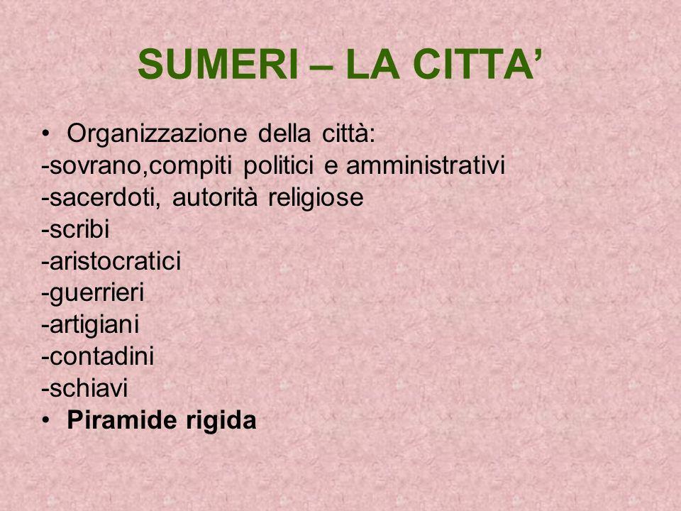 SUMERI – LA CITTA' Organizzazione della città:
