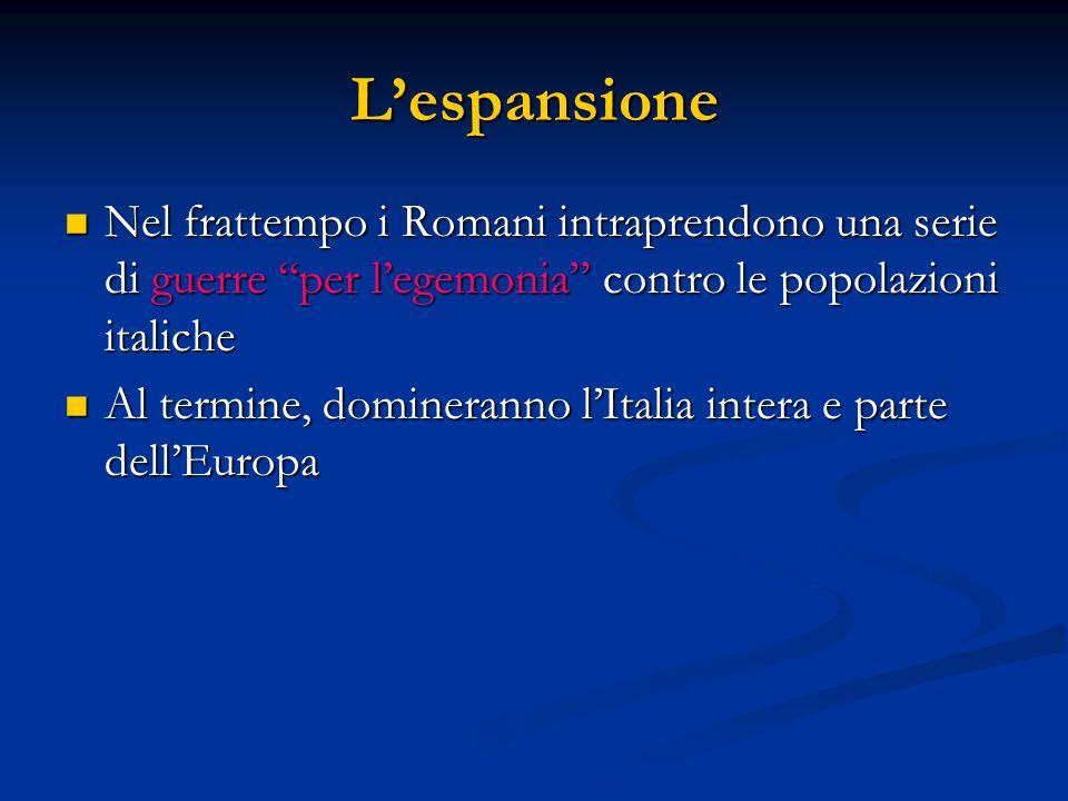 L'espansione Nel frattempo i Romani intraprendono una serie di guerre per l'egemonia contro le popolazioni italiche.