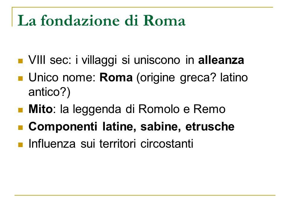 La fondazione di Roma VIII sec: i villaggi si uniscono in alleanza