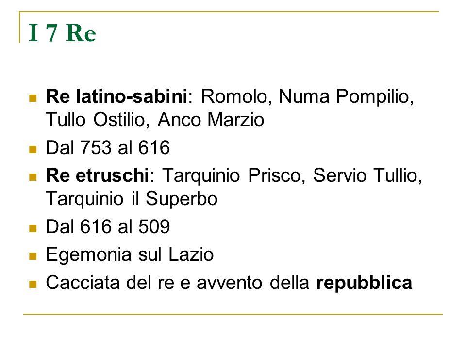 I 7 Re Re latino-sabini: Romolo, Numa Pompilio, Tullo Ostilio, Anco Marzio. Dal 753 al 616.