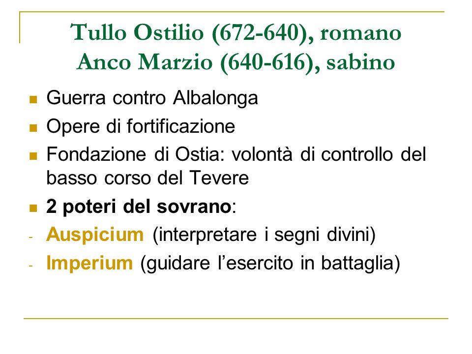 Tullo Ostilio (672-640), romano Anco Marzio (640-616), sabino