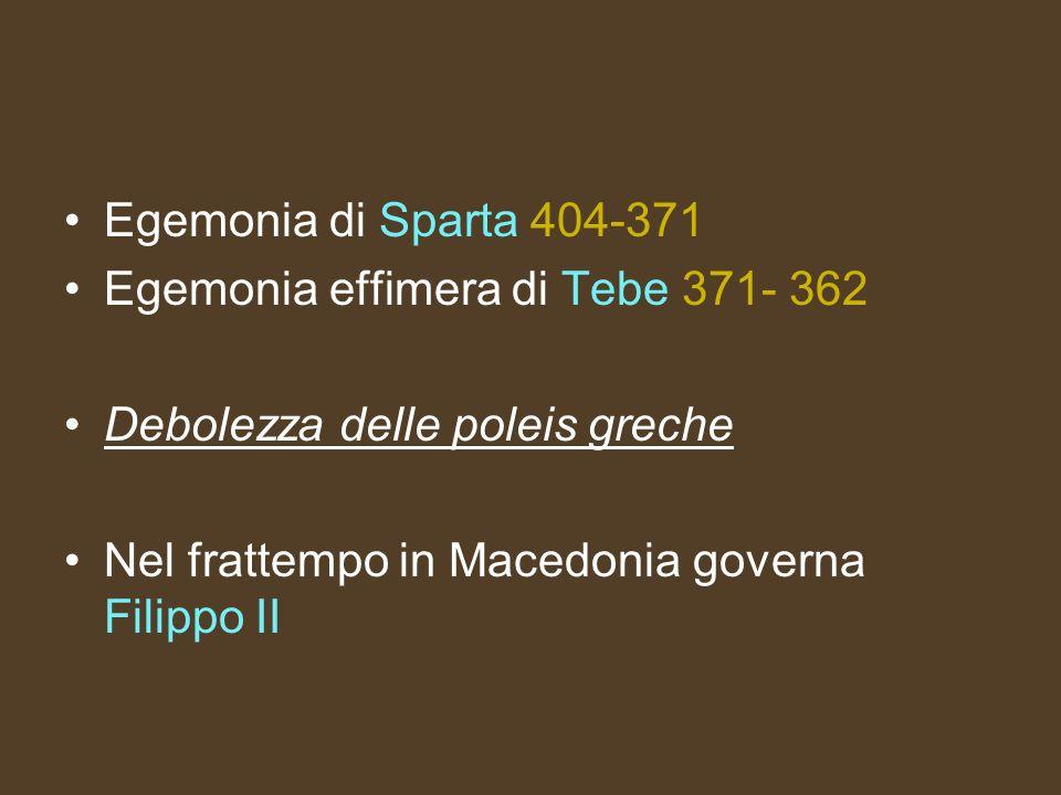 Egemonia di Sparta 404-371 Egemonia effimera di Tebe 371- 362.