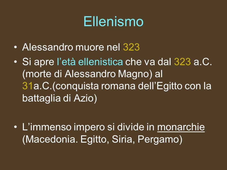 Ellenismo Alessandro muore nel 323
