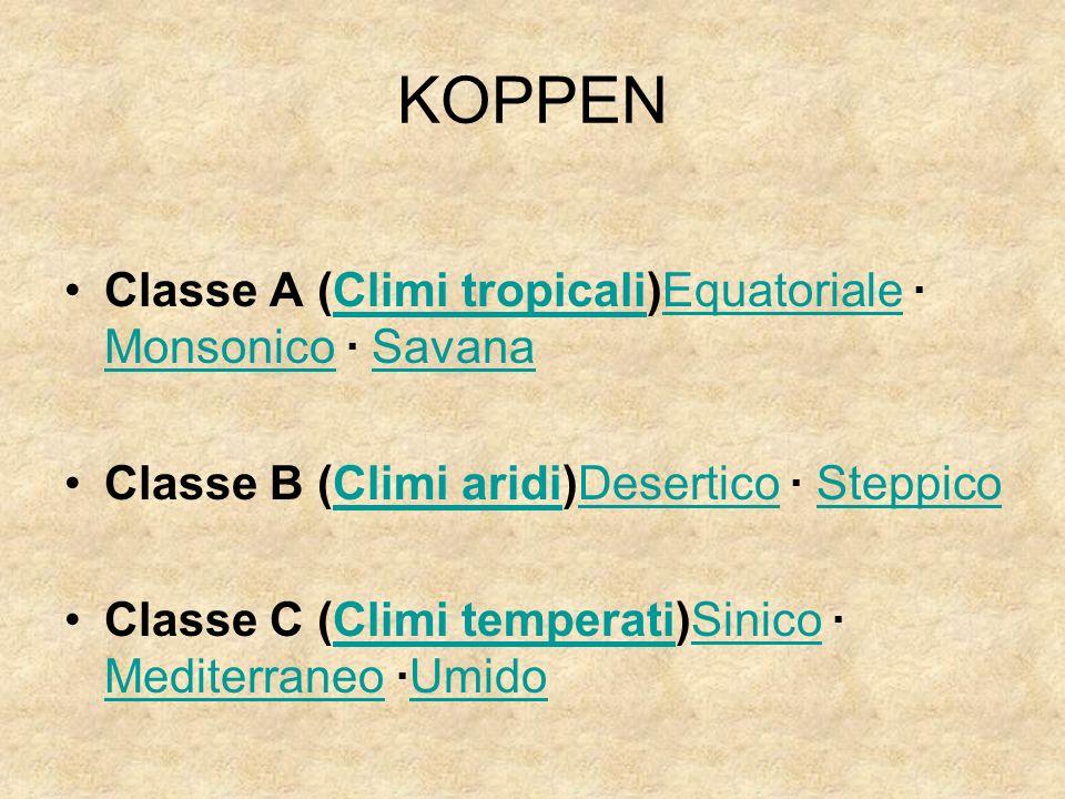 KOPPEN Classe A (Climi tropicali)Equatoriale · Monsonico · Savana