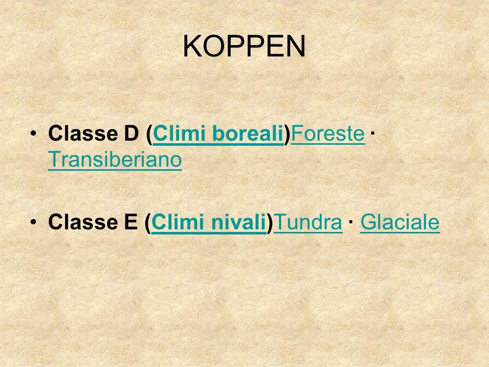 KOPPEN Classe D (Climi boreali)Foreste · Transiberiano