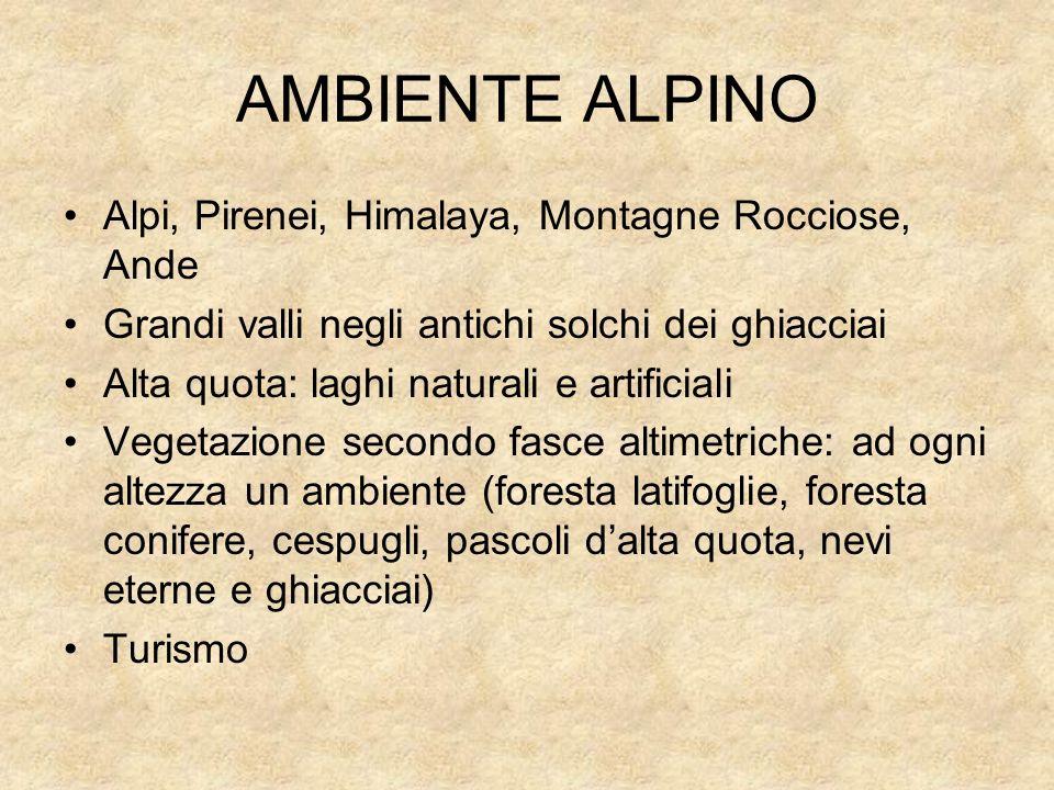 AMBIENTE ALPINO Alpi, Pirenei, Himalaya, Montagne Rocciose, Ande