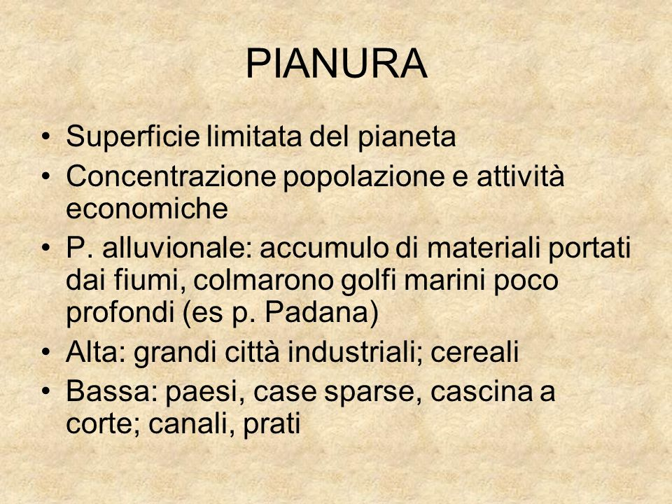 PIANURA Superficie limitata del pianeta