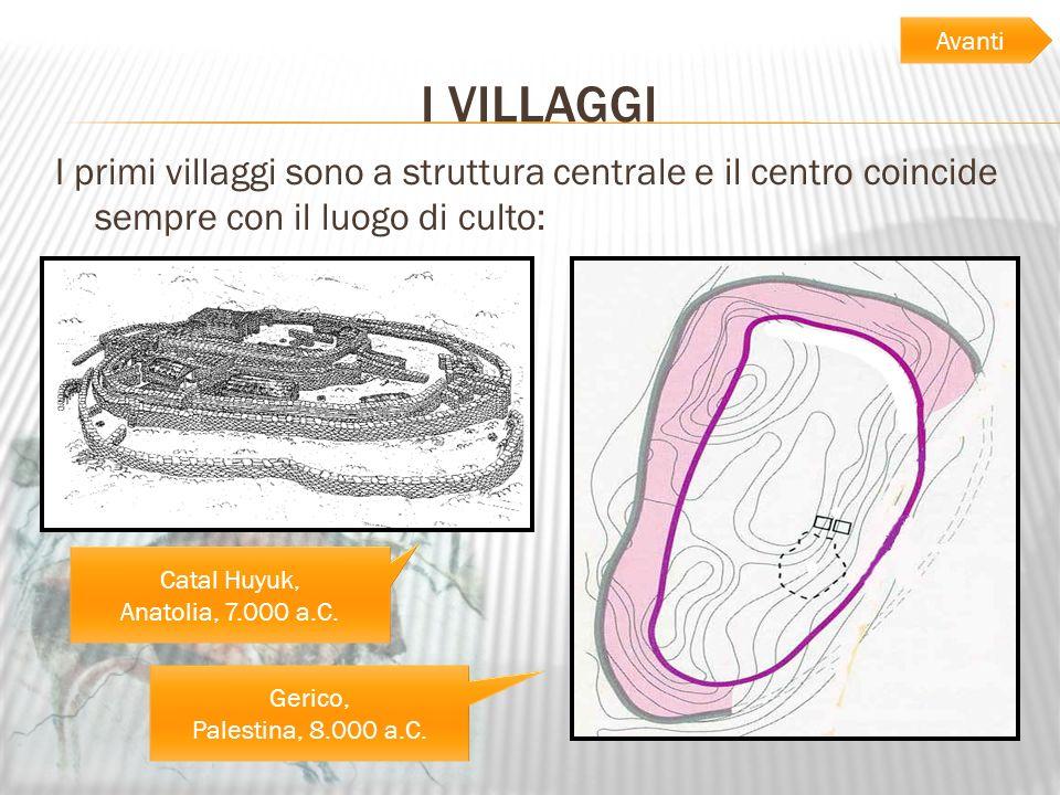 Avanti I VILLAGGI. I primi villaggi sono a struttura centrale e il centro coincide sempre con il luogo di culto: