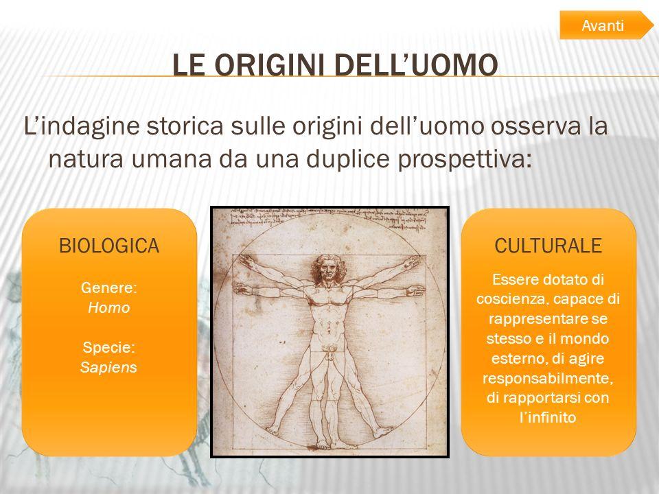AvantiLE ORIGINI DELL'UOMO. L'indagine storica sulle origini dell'uomo osserva la natura umana da una duplice prospettiva: