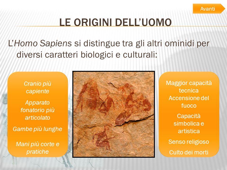 Avanti LE ORIGINI DELL'UOMO. L'Homo Sapiens si distingue tra gli altri ominidi per diversi caratteri biologici e culturali: