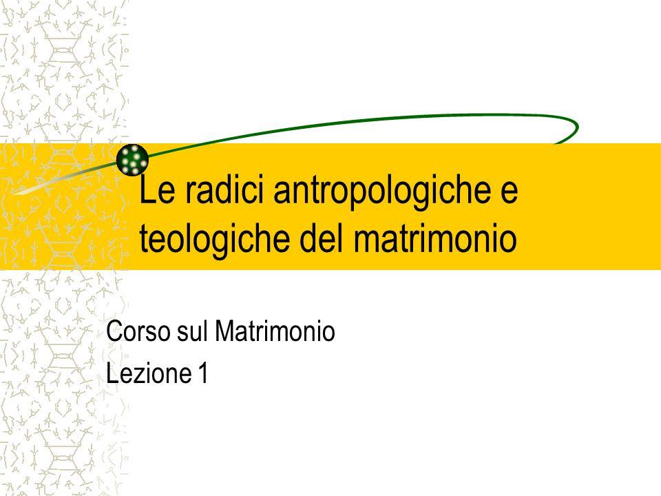 Le radici antropologiche e teologiche del matrimonio