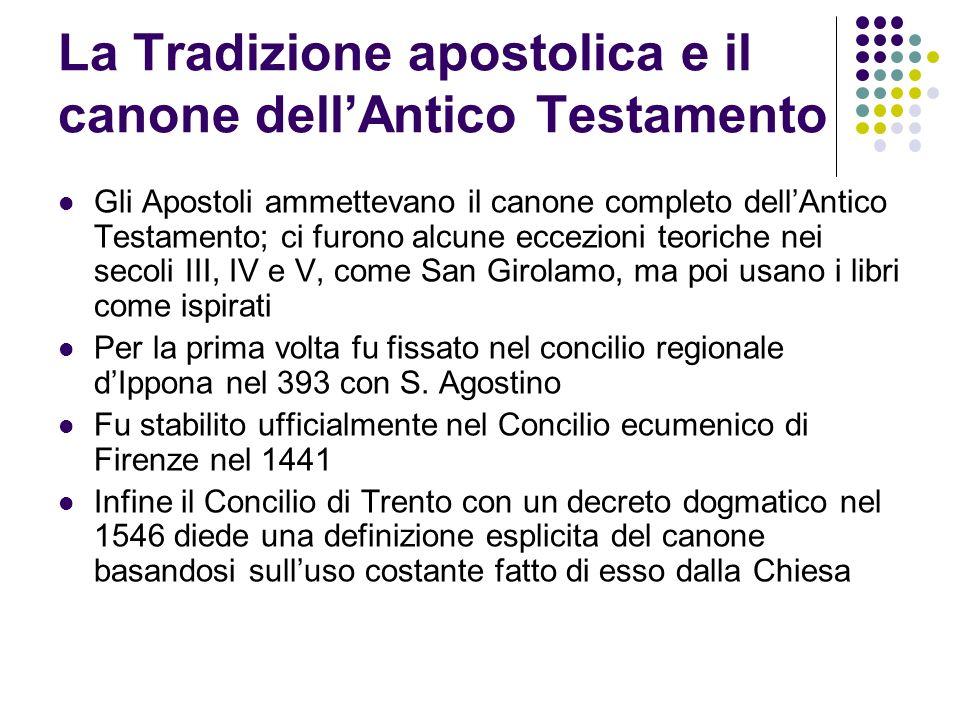 La Tradizione apostolica e il canone dell'Antico Testamento