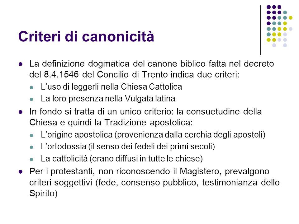 Criteri di canonicitàLa definizione dogmatica del canone biblico fatta nel decreto del 8.4.1546 del Concilio di Trento indica due criteri: