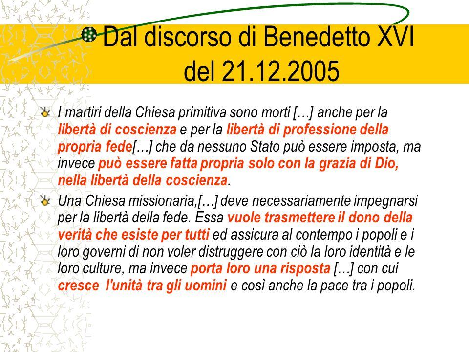 Dal discorso di Benedetto XVI del 21.12.2005