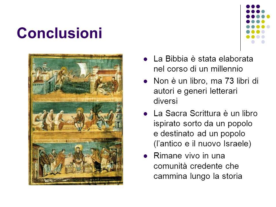 Conclusioni La Bibbia è stata elaborata nel corso di un millennio