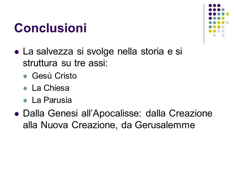 Conclusioni La salvezza si svolge nella storia e si struttura su tre assi: Gesù Cristo. La Chiesa.
