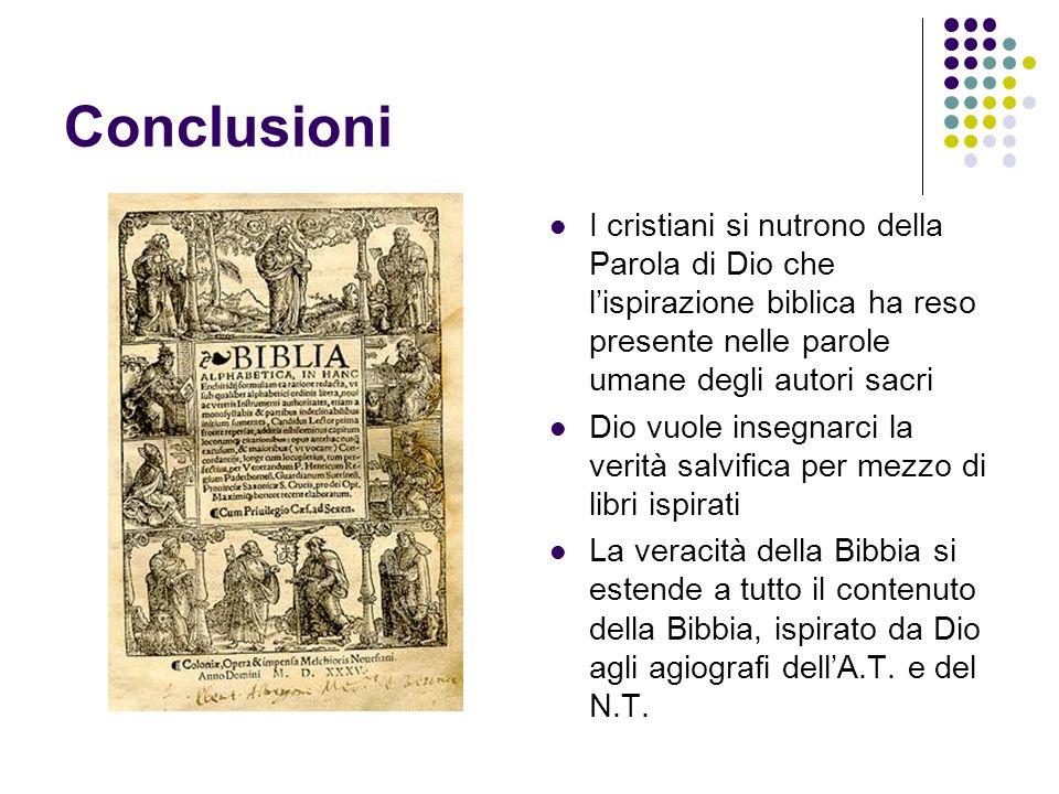 Conclusioni I cristiani si nutrono della Parola di Dio che l'ispirazione biblica ha reso presente nelle parole umane degli autori sacri.