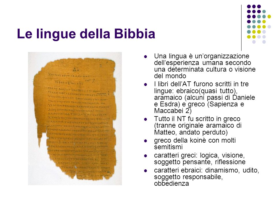 Le lingue della Bibbia Una lingua è un'organizzazione dell'esperienza umana secondo una determinata cultura o visione del mondo.