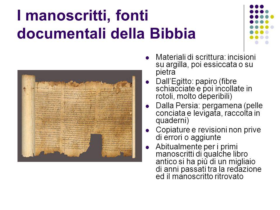 I manoscritti, fonti documentali della Bibbia