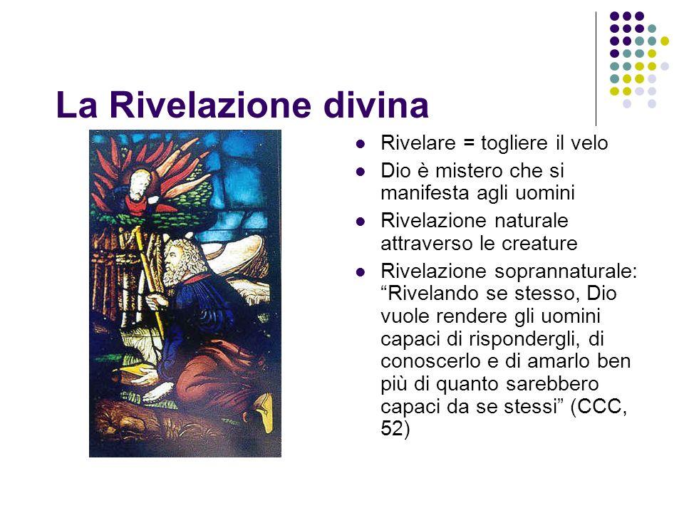 La Rivelazione divina Rivelare = togliere il velo