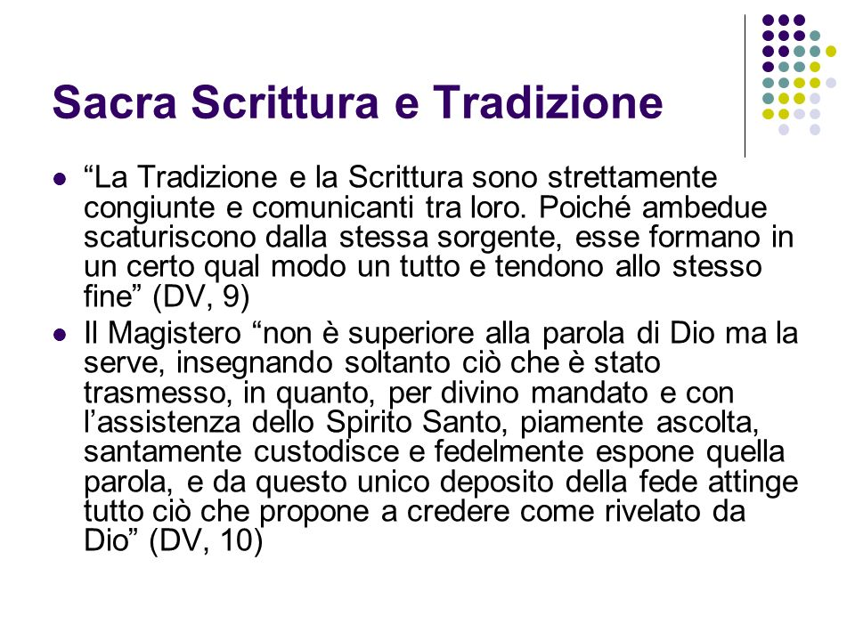 Sacra Scrittura e Tradizione