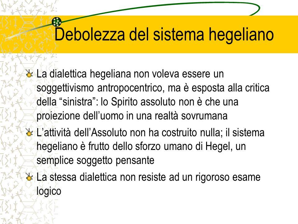 Debolezza del sistema hegeliano