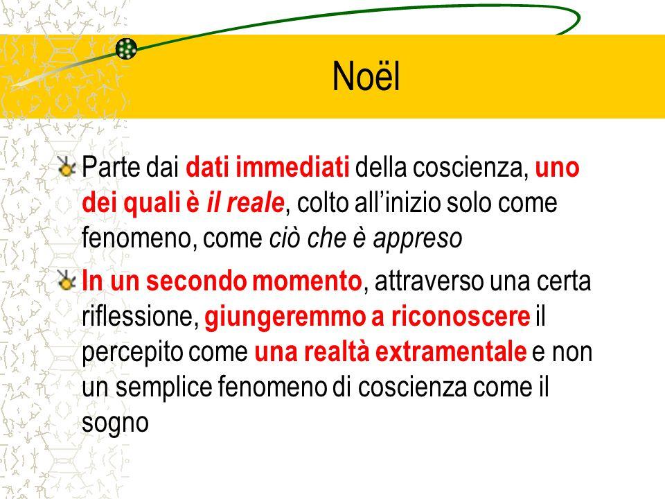 Noël Parte dai dati immediati della coscienza, uno dei quali è il reale, colto all'inizio solo come fenomeno, come ciò che è appreso.