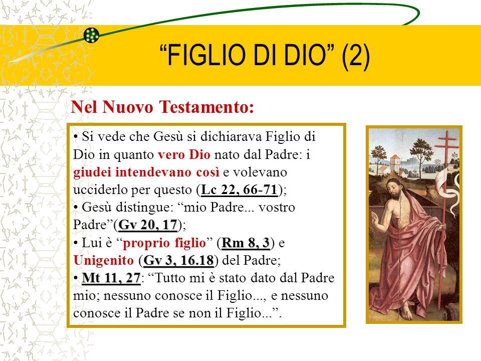 FIGLIO DI DIO (2) Nel Nuovo Testamento: