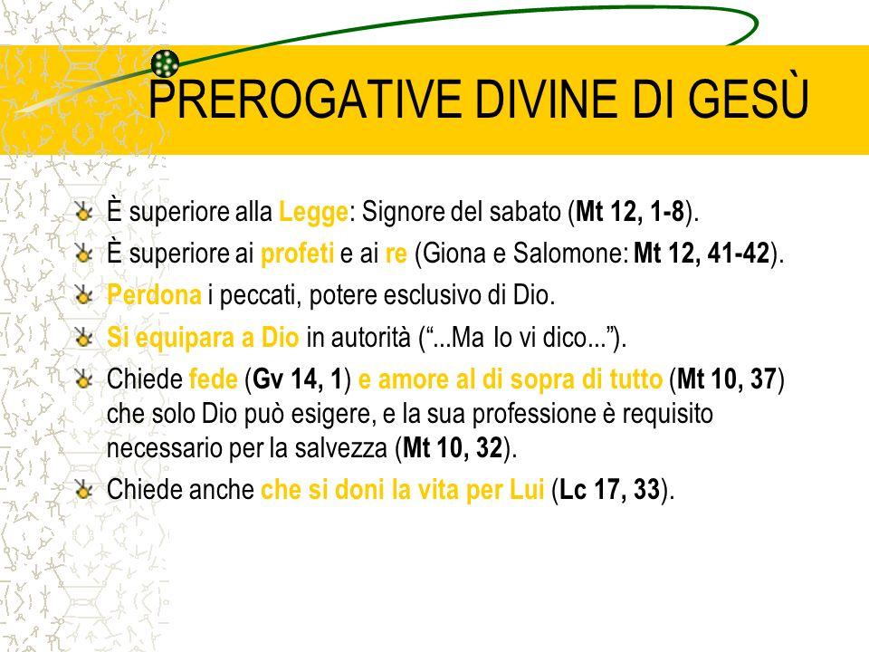 PREROGATIVE DIVINE DI GESÙ