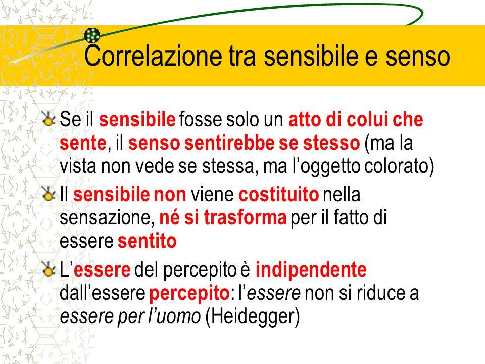 Correlazione tra sensibile e senso