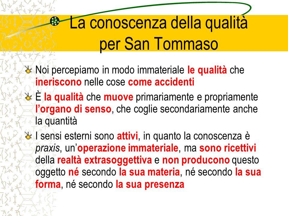 La conoscenza della qualità per San Tommaso