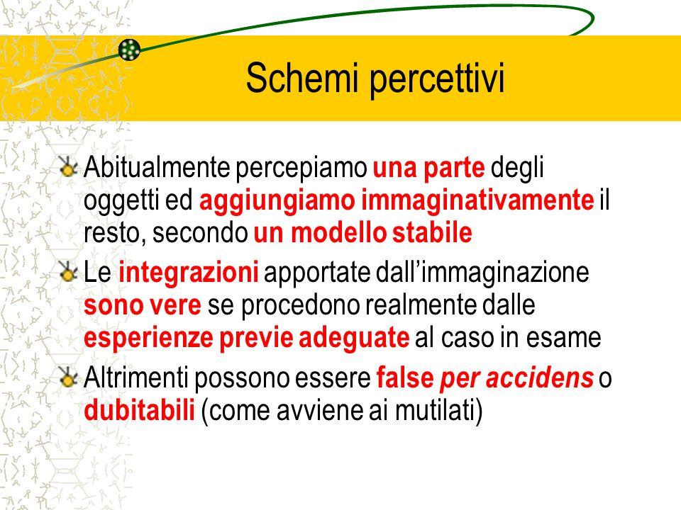 Schemi percettivi Abitualmente percepiamo una parte degli oggetti ed aggiungiamo immaginativamente il resto, secondo un modello stabile.