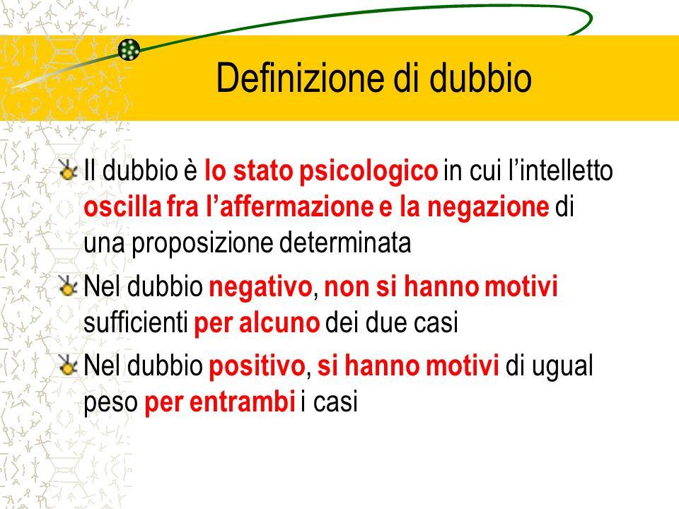 Definizione di dubbio Il dubbio è lo stato psicologico in cui l'intelletto oscilla fra l'affermazione e la negazione di una proposizione determinata.