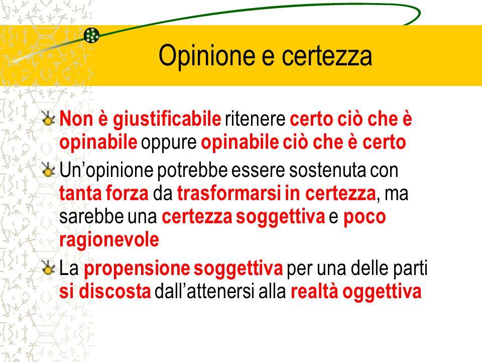 Opinione e certezza Non è giustificabile ritenere certo ciò che è opinabile oppure opinabile ciò che è certo.
