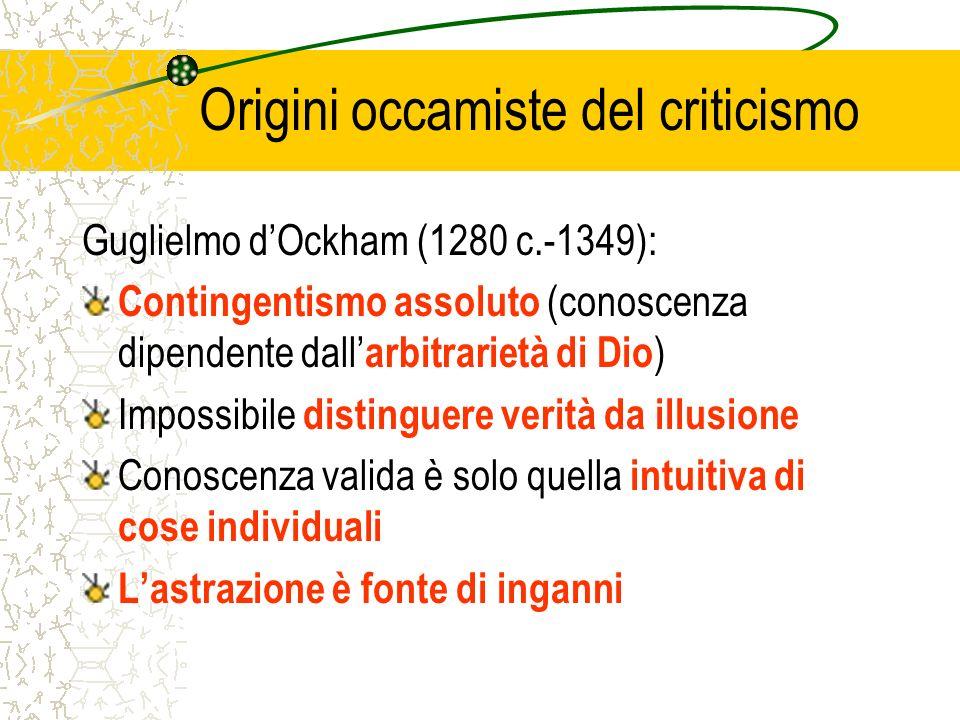 Origini occamiste del criticismo