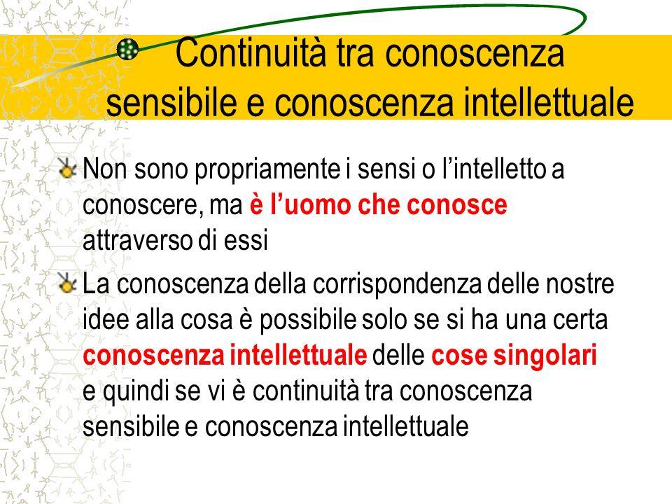 Continuità tra conoscenza sensibile e conoscenza intellettuale