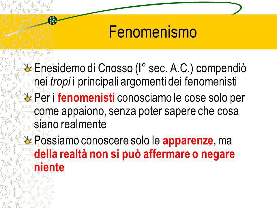 Fenomenismo Enesidemo di Cnosso (I° sec. A.C.) compendiò nei tropi i principali argomenti dei fenomenisti.