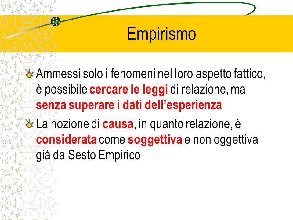 Empirismo Ammessi solo i fenomeni nel loro aspetto fattico, è possibile cercare le leggi di relazione, ma senza superare i dati dell'esperienza.