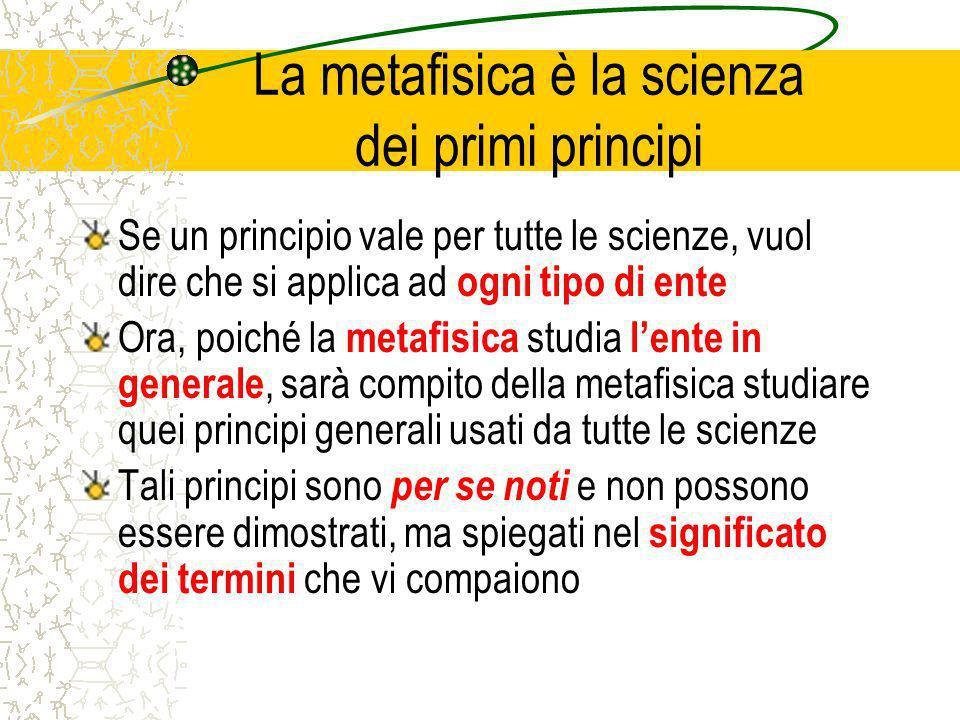 La metafisica è la scienza dei primi principi