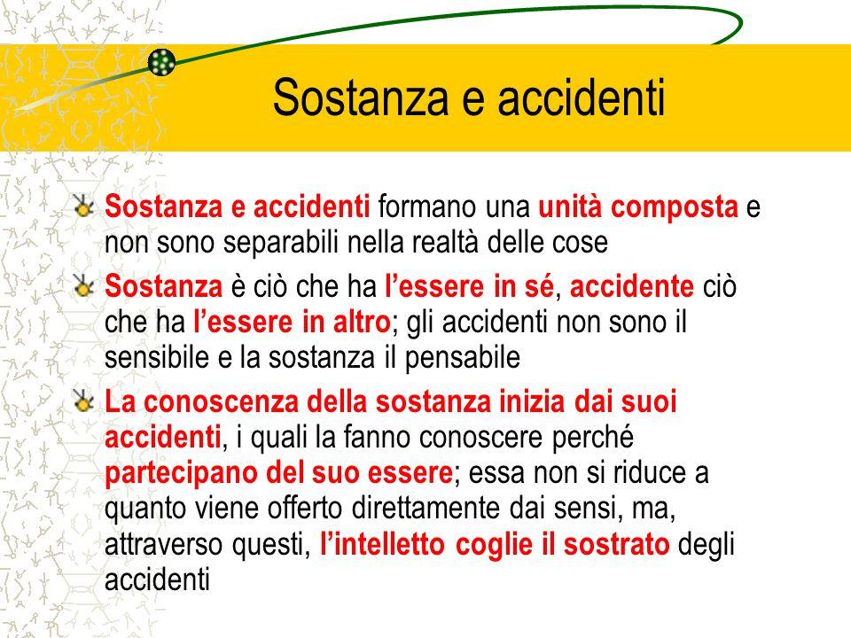 Sostanza e accidenti Sostanza e accidenti formano una unità composta e non sono separabili nella realtà delle cose.