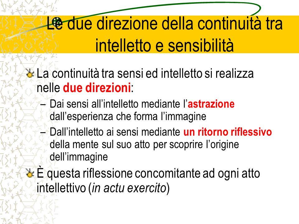 Le due direzione della continuità tra intelletto e sensibilità