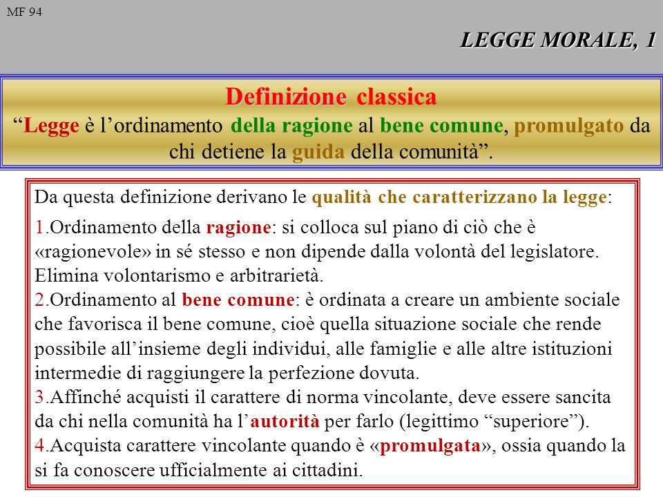Definizione classica LEGGE MORALE, 1